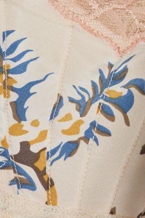 STELLA McCARTNEY Leavers lace-trimmed mesh and leopard-print stretch-silk satin briefs
