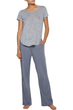 YUMMIE by HEATHER THOMSON® Mélange stretch-jersey pajama top