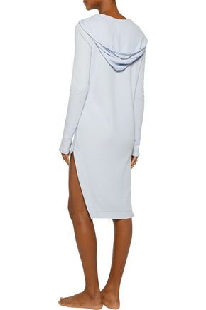 YUMMIE by HEATHER THOMSON Waffle-knit stretch cotton and modal-blend hooded nightshirt