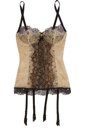 ROBERTO CAVALLI Metallic lace and tulle corset