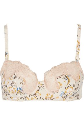STELLA McCARTNEY Floral-print stretch-silk and lace contour bra
