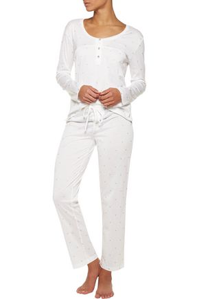 BODAS Metallic printed cotton-jersey pajama pants