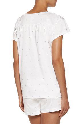 BODAS Metallic printed cotton-jersey pajama shorts