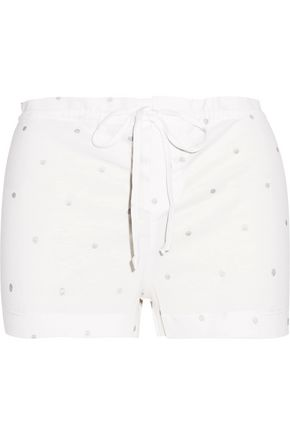 BODAS Metallic printed cotton-jersey pajama shorts