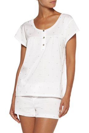 BODAS Metallic printed cotton-jersey pajama top