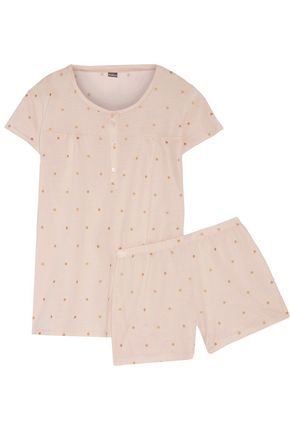 BODAS Polka-dot cotton-jersey pajama set