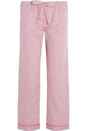 BODAS Striped seersucker cotton pajama pants