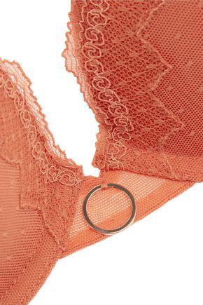 ELLE MACPHERSON BODY Pure lace-trimmed point d'esprit tulle contour bra