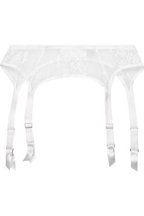 I.D. SARRIERI La Robe Blanche Chantilly lace and tulle suspender belt