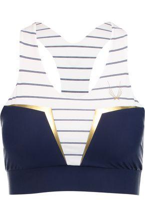 LUCAS HUGH Neva striped stretch-jersey sports bra