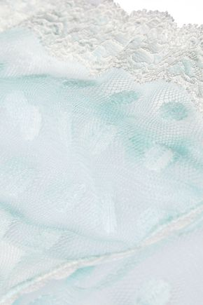 MIMI HOLLIDAY by DAMARIS Lace-trimmed low-rise polka-dot tulle briefs