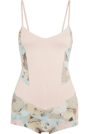 LIVE THE PROCESS Floral-print stretch-Supplex® bodysuit