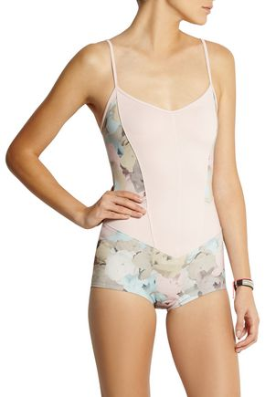 LIVE THE PROCESS Floral-print stretch-Supplex® bodysuit