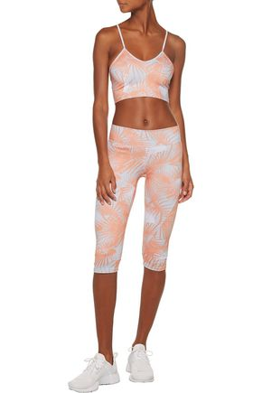 LIVE THE PROCESS Mesh-paneled printed stretch-Supplex® bra top