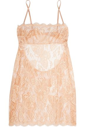 I.D. SARRIERI Chantilly lace and tulle chemise