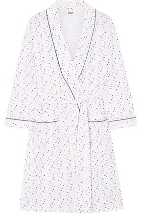 SLEEPY JONES Isa Swiss-dot cotton-poplin robe