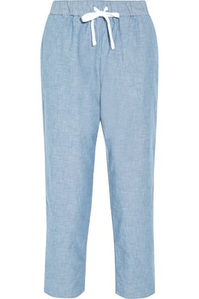 SLEEPY JONES Hannah cotton-chambray pajama pants