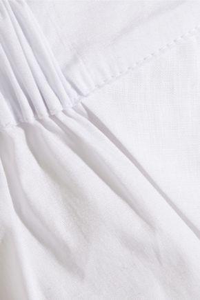 BACK LABEL Linen-trimmed organic cotton-poplin pajama shorts
