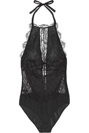 I.D. SARRIERI Belle Du Jour Chantilly lace and georgette halterneck bodysuit