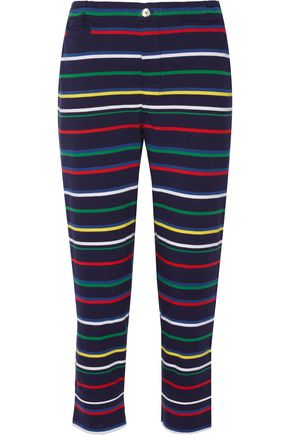 SLEEPY JONES Striped cotton-jersey pajama pants
