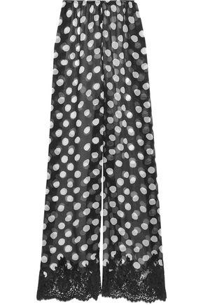 ROSAMOSARIO Scent of Mykonos polka-dot silk-chiffon pajama pants