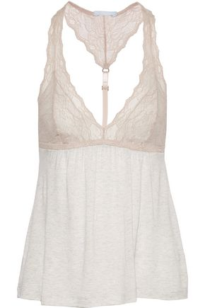 EBERJEY Georgette lace-trimmed jersey camisole
