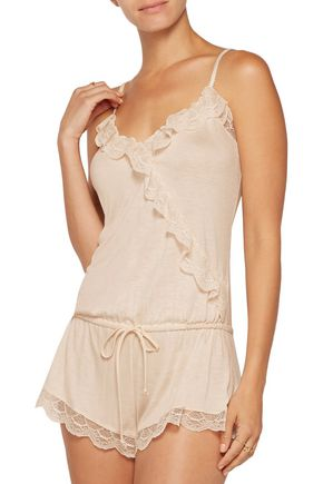 EBERJEY Bonnie ruffled lace-trimmed jersey playsuit
