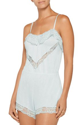 EBERJEY Golden Girl ruffled lace-paneled jersey playsuit