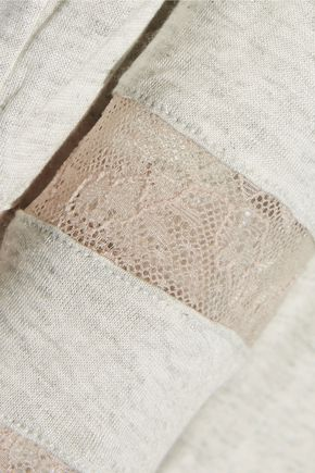 EBERJEY Georgette lace-trimmed jersey pajama pants