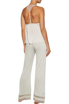 EBERJEY Georgette lace-trimmed jersey pajama pants