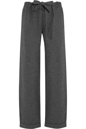 BODAS Montana herringbone brushed-cotton pajama pants