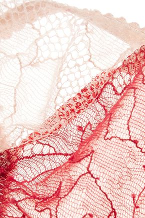 LE FLEUR DU MAL Rose low-rise corded lace and tulle thong