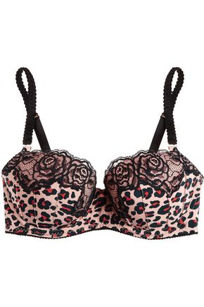 STELLA McCARTNEY Lace-trimmed printed silk-satin underwired bra