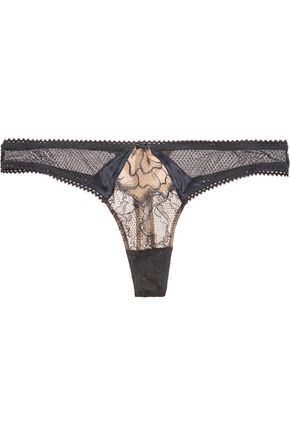 HEIDI KLUM INTIMATES Cleos Spell low-rise satin-trimmed lace thong