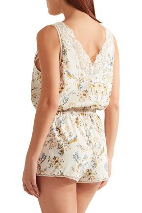 STELLA McCARTNEY Lace-trimmed floral-print stretch-silk playsuit