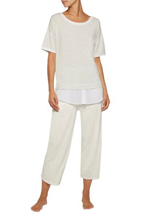 DKNY Chiffon-trimmed striped stretch modal-blend pajama set