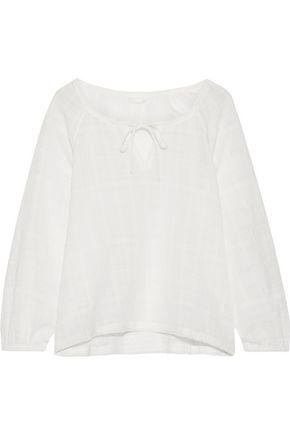 SKIN Crinkled cotton-gauze pajama top