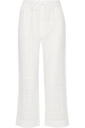 SKIN Crinkled cotton-gauze pajama pants