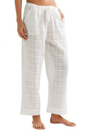 SKIN Crinkled cotton-gauze pajama pants