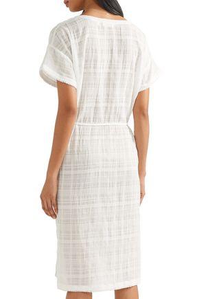 SKIN Crinkled cotton-gauze nightdress