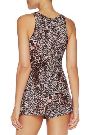 SKIN Leopard-print Pima cotton pajama top