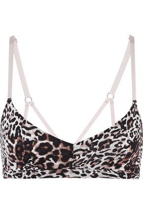 SKIN Leopard-print Pima cotton bra top