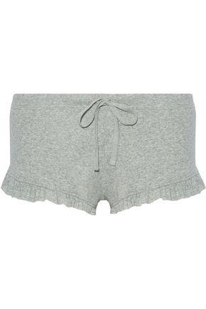 SKIN Ruffle-trimmed ribbed Pima cotton pajama shorts
