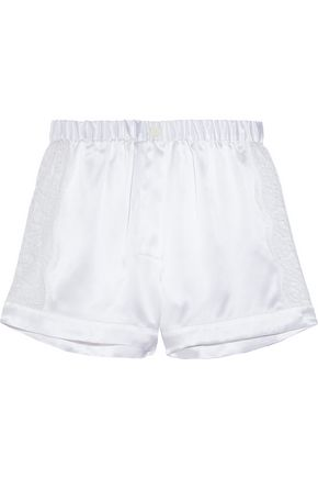 RAPHAËLLA RIBOUD Fred lace-paneled silk-satin pajama shorts