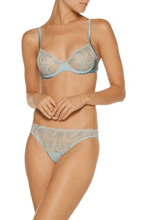 LA PERLA Clio low-rise embroidered stretch-mesh thong