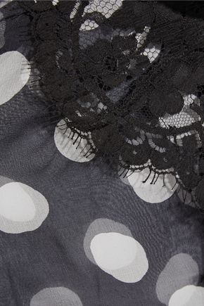 ROSAMOSARIO Scent of Mykonos polka-dot silk-chiffon pajama top