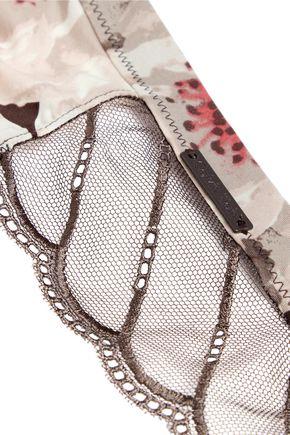 71db04df9b38 ... CALVIN KLEIN UNDERWEAR Lace-paneled printed stretch-satin briefs ...