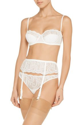 LA PERLA Clio satin-trimmed stretch-jersey and corded lace suspender belt