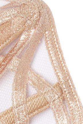 LA PERLA Embroidered stretch-tulle bra
