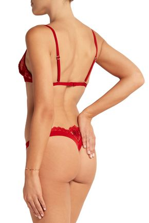 LA PERLA Embroidered tulle and neoprene thong
